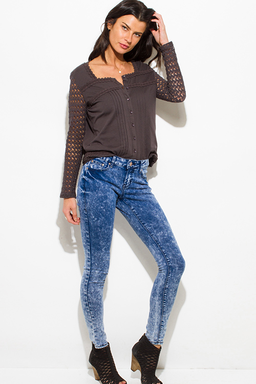Cute cheap  navy blue acid washed denim mid rise fitted skinny jeans