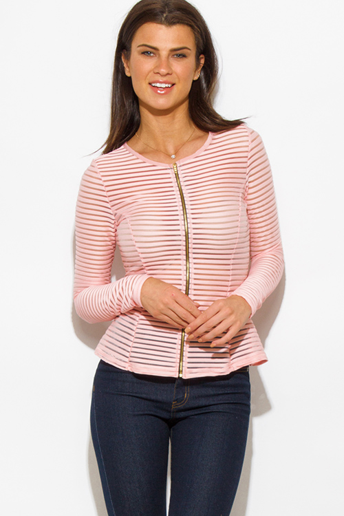 Cute cheap pink semi sheer stripe mesh fitted zip up jacket top