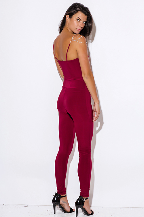 Cute cheap burgundy wine red chain bejeweled deep v neck fitted bodycon evening party catsuit jumpsuit