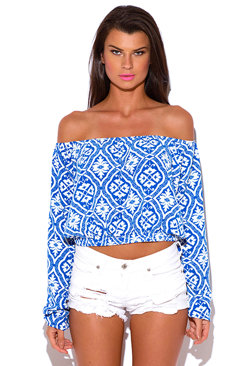 Shop plus size ethnic damask print off shoulder boho crop top