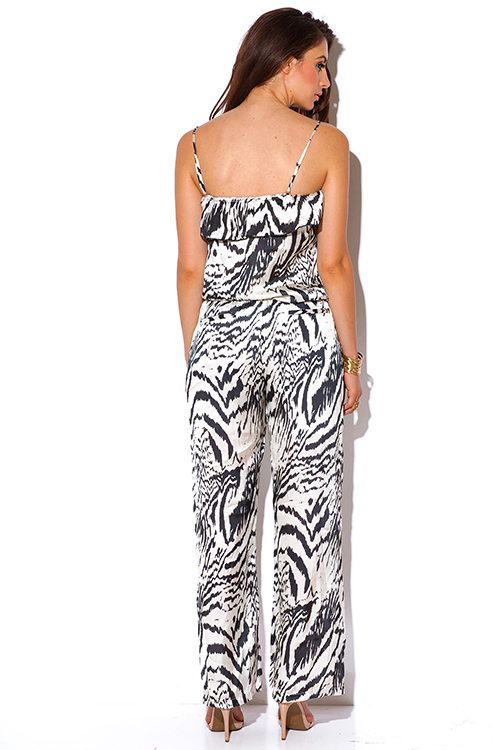 Cute cheap abstract black and ivory animal print silky evening party jumpsuit