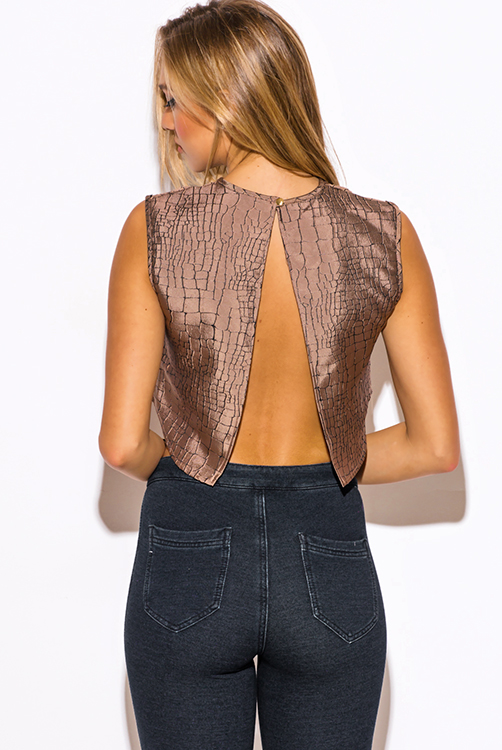 Cute cheap abstract print mocha brown jacquard cut out backless crop party top