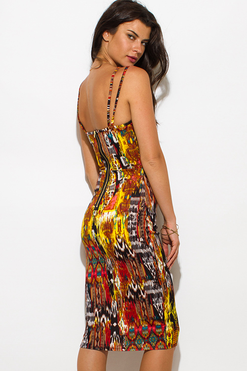 Cute cheap Abstract yellow orange ethnic print caged spaghetti strap fitted bodycon club midi dress