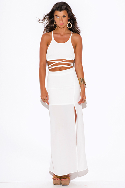 Cute cheap all white high slit crepe evening cocktail party maxi two piece set dress