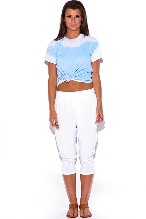 Cute cheap white pocketed tapered jersey harem capri parachute lounge pants