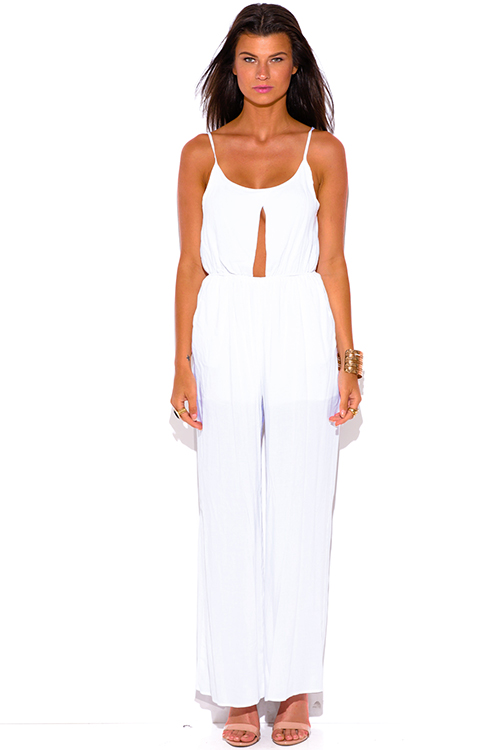 Cute cheap all white pocketed cut out center wide leg summer party jumpsuit