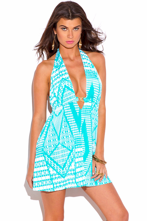 Cute cheap aqua blue print bejeweled draped backless babydoll halter party mini dress
