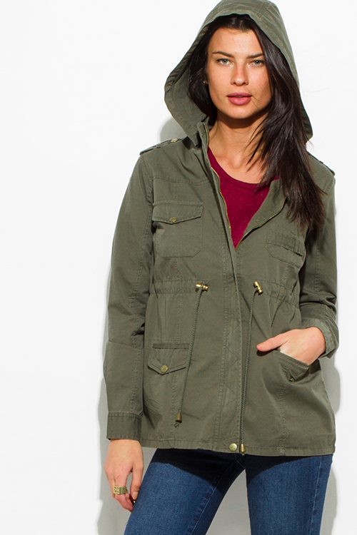 Cute cheap army olive green cotton utility cargo hoodie trench coat jacket