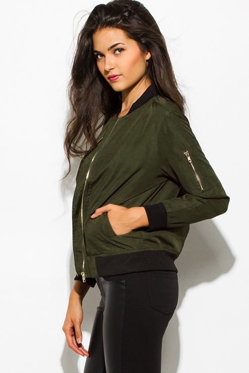 Cute cheap army olive green zip up banded cropped bomber jacket top