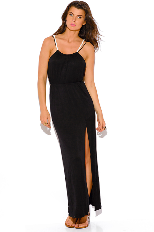 Cute cheap black backless high slit pearl bejeweled evening party maxi dress