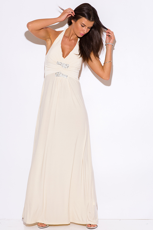 Cute cheap beige v neck bejeweled ruched empire waist halter formal evening party maxi dress