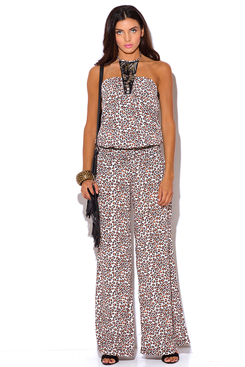 Cute cheap bejeweled animal print halter wide leg boho jumpsuit