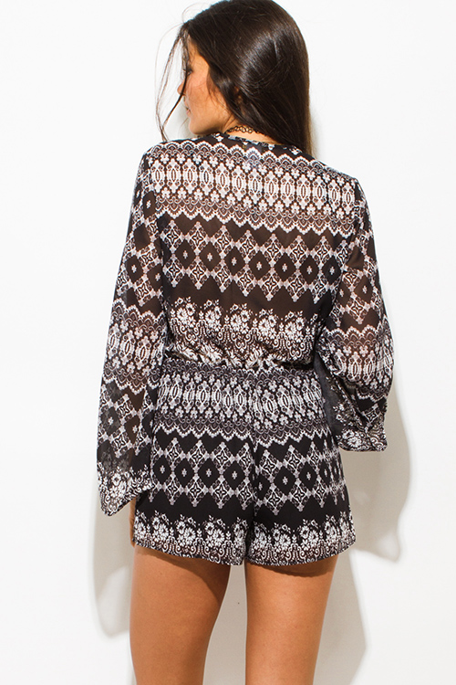 Cute cheap black abstract ethnic print semi sheer chiffon long bell sleeve boho romper playsuit jumpsuit