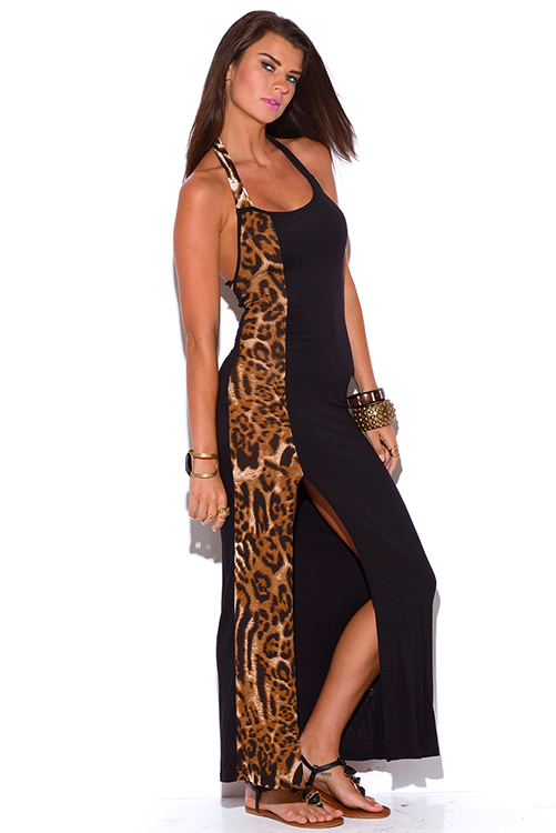 Cute cheap black and leopard animal print cut out backless high slit fitted jersey maxi dress