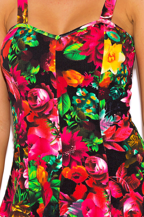 Cute cheap black and multicolor floral print peplum party top