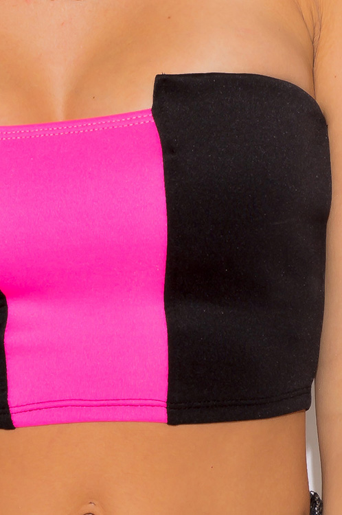 Cute cheap black neon hot pink stripe color block strapless crop bandeau tube top