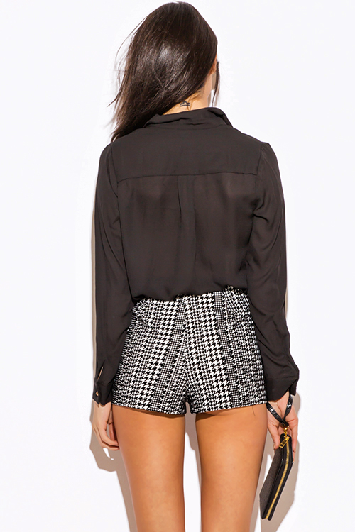 Cute cheap black and white houndstooth print high waisted shorts