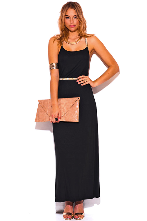 Cute cheap black backless gold metallic criss cross strap slit jersey evening party maxi dress