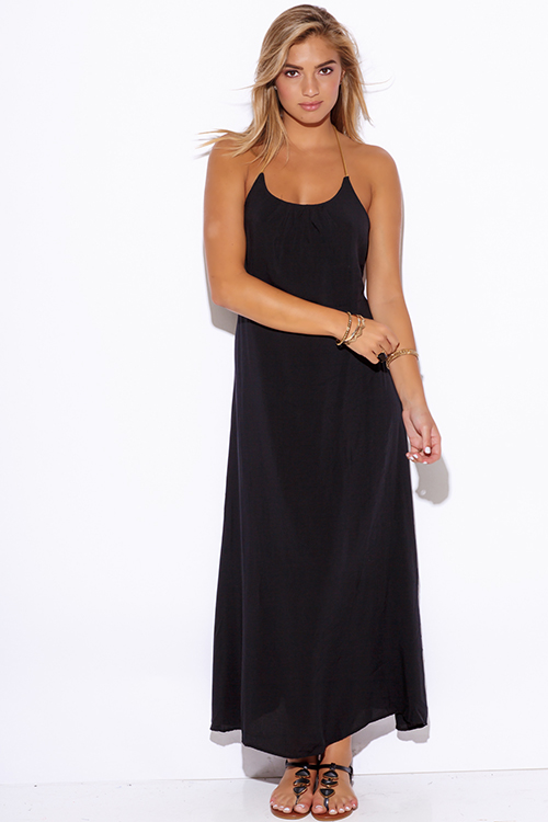 Cute cheap black backless golden leatherette strappy boho evening party maxi dress