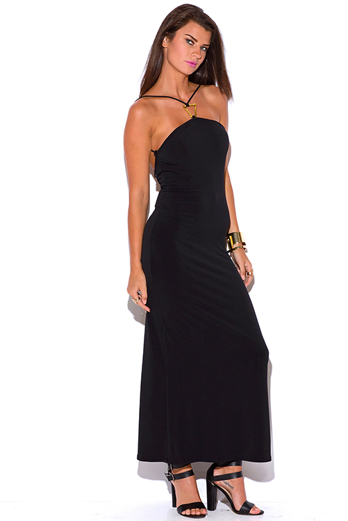 Cute cheap black bejeweled halter backless fitted evening party maxi dress