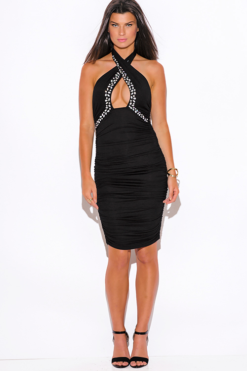 Cute cheap black bejeweled ruched fitted wrapped neck halter formal cocktail party club midi dress