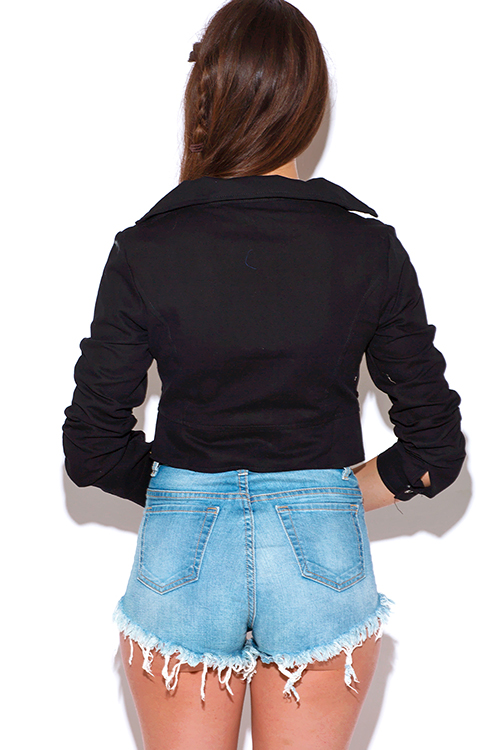 Cute cheap black long sleeve boho crop canvas jacket