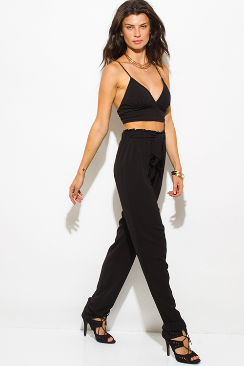 More Details Brandon Maxwell High-Waist Crepe Kick-Flare Pants, Black Details Brandon Maxwell bell-bottom pants in crepe. High rise; banded waist. Fitted through hip and thigh. Flared from knee. Hidden back zip. Full length. Viscose/acetate/spandex. Dry clean.