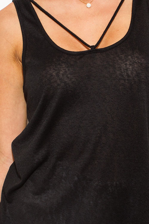 Cute cheap black caged neckline open back party tank top