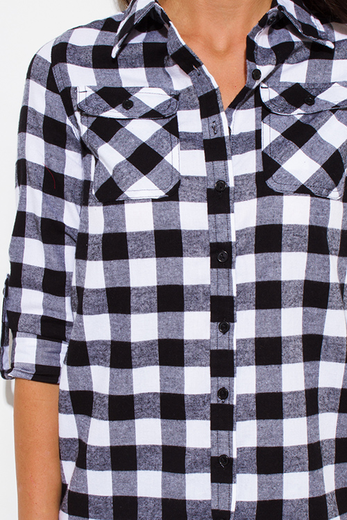 Cute cheap black checker plaid flannel long sleeve button up blouse top