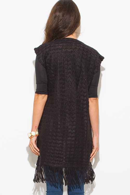 Cute cheap black chevron crochet knit fringe trim sleeveless open front duster cardigan top