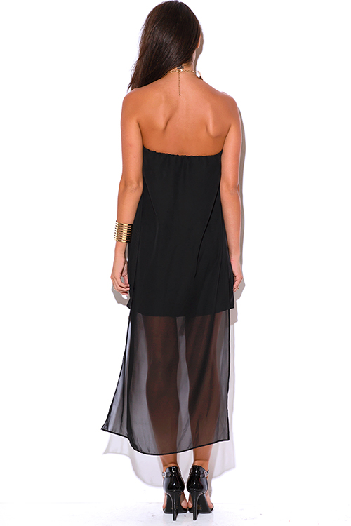 Cute cheap black chiffon cape high low strapless cocktail party mini dress