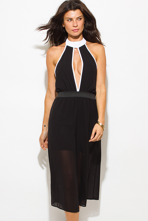 Cute cheap black chiffon color block cut out high neck backless cropped clubbing midi jumpsuit