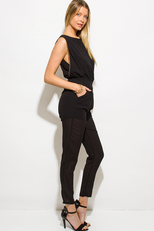 Cute cheap black chiffon golden chain embellished pocketed clubbing jumpsuit