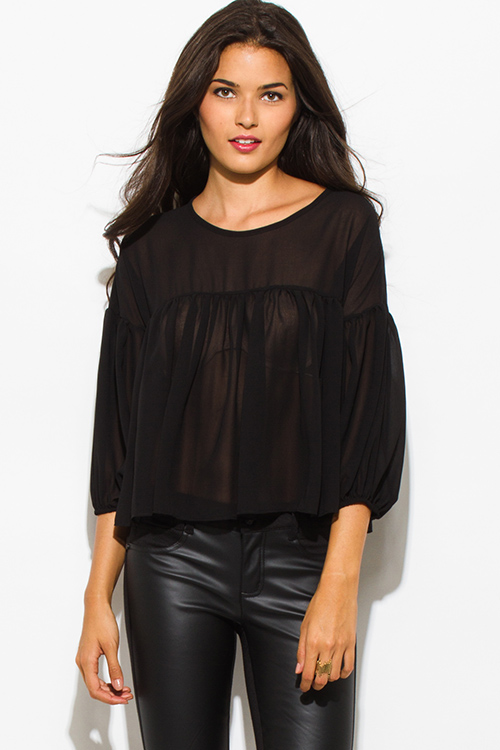 Cute cheap black chiffon shirred quarter length blouson sleeve boho blouse top