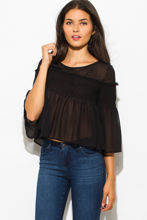 Cute cheap black chiffon shirred smocked flutter bell sleeve boho crop blouse top