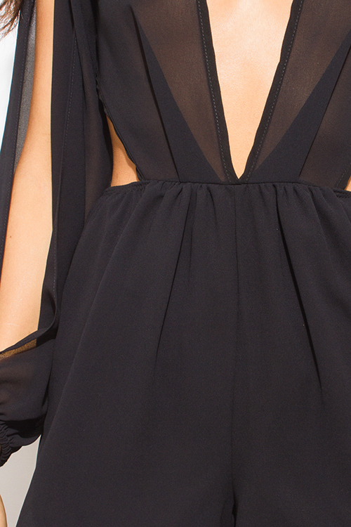 Cute cheap black chiffon slit blouson sleeve deep v neck cut out open back romper playsuit jumpsuit