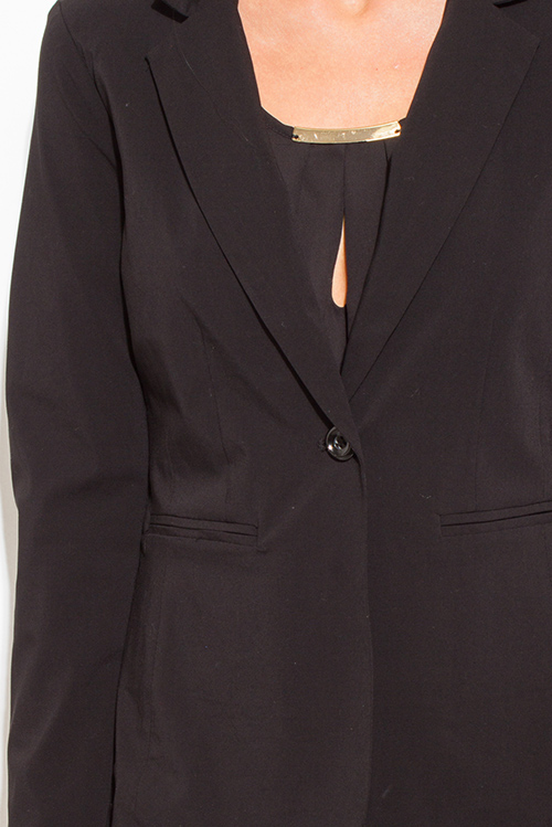 Cute cheap black classic button close suiting blazer top