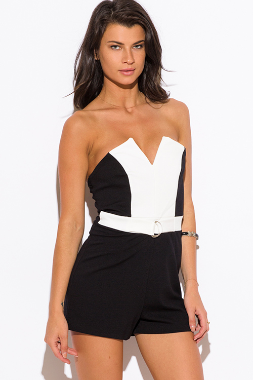 Cute cheap black color block sweetheart v neck strapless party romper jumpsuit