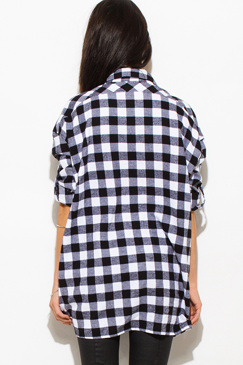Cute cheap black cotton button up long sleeve oversized checker plaid flannel tunic top
