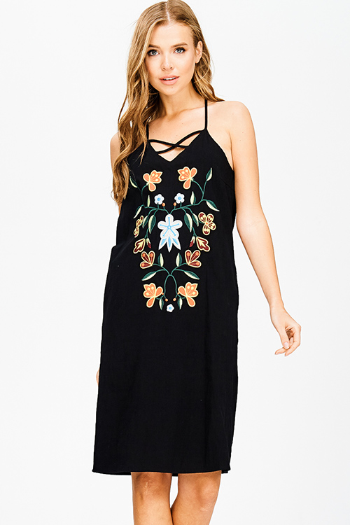 Shop black cotton embroidered caged cut out halter cut out back boho ...