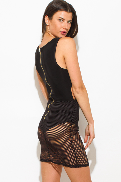 Cute cheap black criss cross cut out fishnet contrast bodysuit bodycon fitted clubbing mini dress