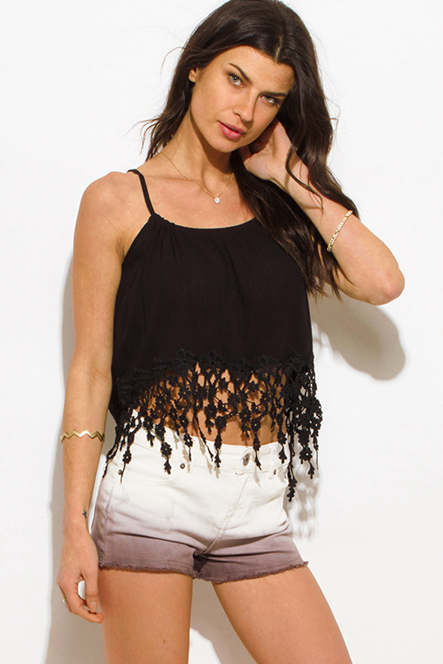 Cute cheap black crochet fringe trim resort boho crop top