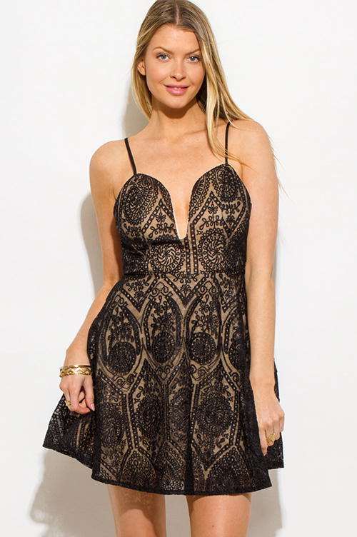 Cute cheap black crochet lace sweetheart deep v neck criss cross backless cocktail party skater mini dress