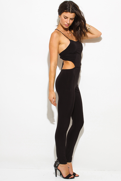 Cute cheap black cut out bodycon fitted backless criss cross strap back clubbing catsuit jumpsuit