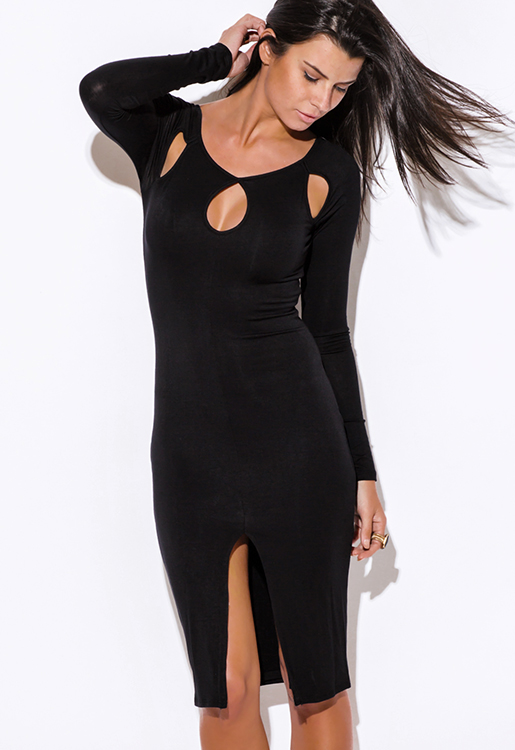Cute cheap black cut out neck long sleeve high slit bodycon fitted open back club party midi dress