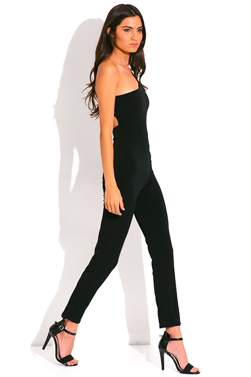 Cute cheap black cut out one shoulder backless evening clubbing jumpsuit