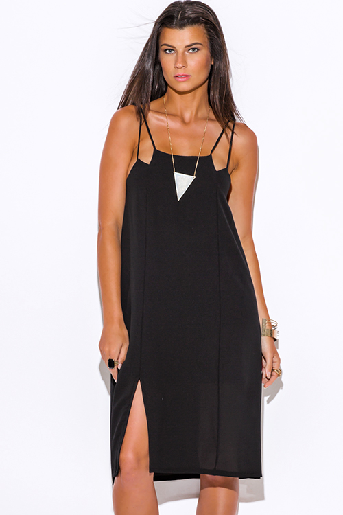 Cute cheap black cut out side slit crepe party midi dress