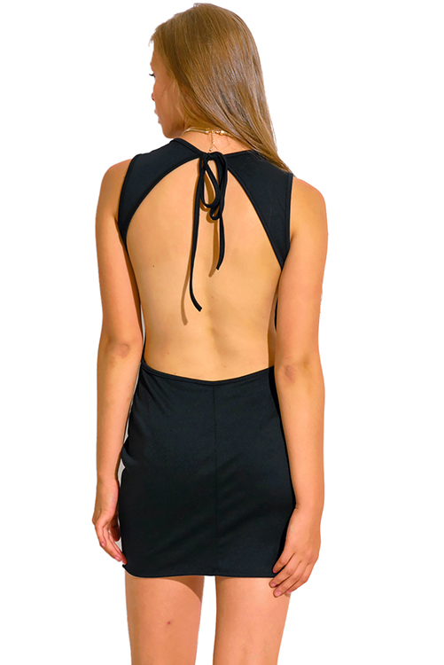 Cute cheap black backless deep v neck sweetheart fitted bodycon club mini dress