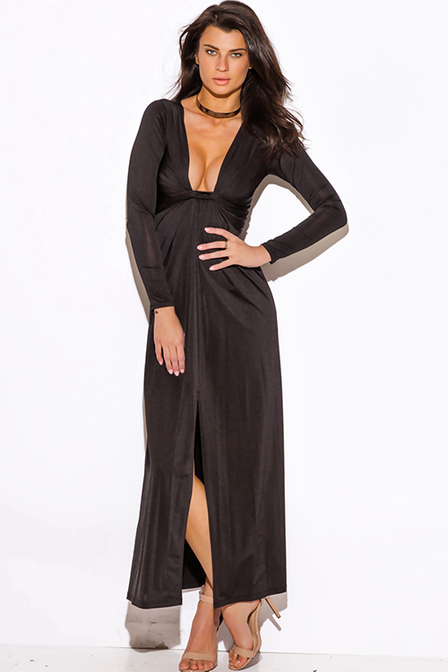 Cute cheap black deep v neck knot high slit long sleeve formal evening party maxi dress
