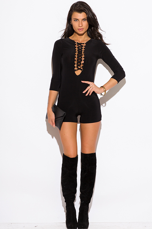 Cute cheap black deep v neck laceup quarter sleeve fitted bodycon clubbing romper jumpsuit